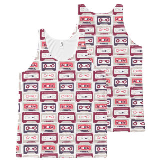 Cool retro vintage cassettes vector pattern All-Over print tank top
