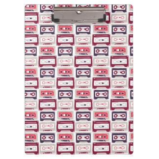 Cool retro vintage cassettes vector pattern clipboard