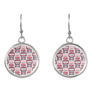 Cool retro vintage cassettes vector pattern earrings