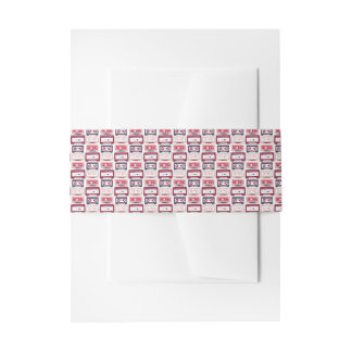 Cool retro vintage cassettes vector pattern invitation belly band