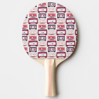 Cool retro vintage cassettes vector pattern ping pong paddle