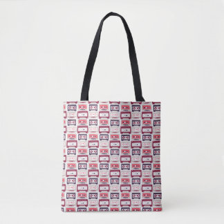 Cool retro vintage cassettes vector pattern tote bag