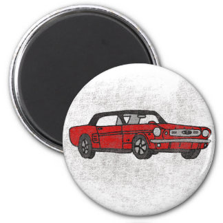 Cool Retro Vintage Red Convertible Pony Car Magnet