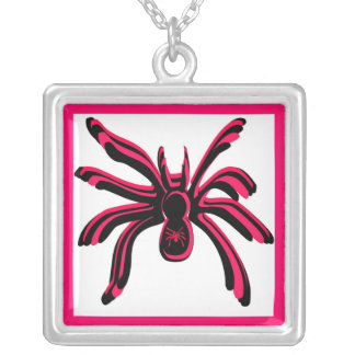 COOL ROSE AND BLACK SPIDER PRINT SQUARE PENDANT NECKLACE