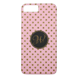 Cool Rose Gold Glitter Polka Dots Monogrammed iPhone 8 Plus/7 Plus Case