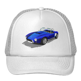 COOL ROYAL BLUE HOT ROD CAR SPEED RACING CAP