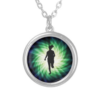 Cool Running Girl Round Pendant Necklace