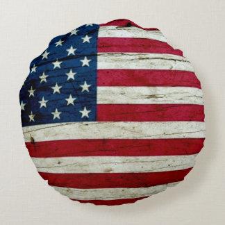 Cool Rustic American Flag Round Cushion