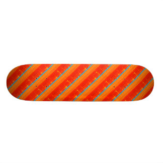 Cool Rustic Blue Orange Yellow Red Stripes Skate Boards