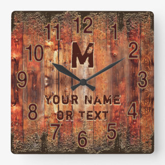 Cool Rustic Clock Personalised with YOUR TEXT