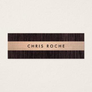 Cool Rustic Copper Stripe Bamboo Wood Mini Business Card