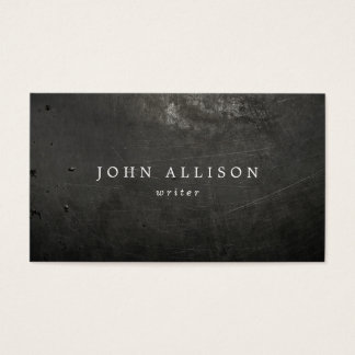 Cool Rustic Guy's Black Scratched Metal Business Card
