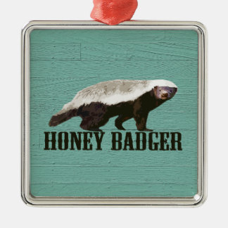 Cool Rustic Honey Badger Metal Ornament
