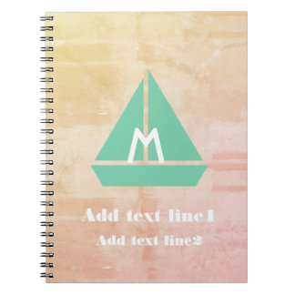 Cool Rustic Mint Boat  Watercolor Style Notebook