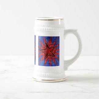 Cool Rustic Star Pop Art Print Beer Stein