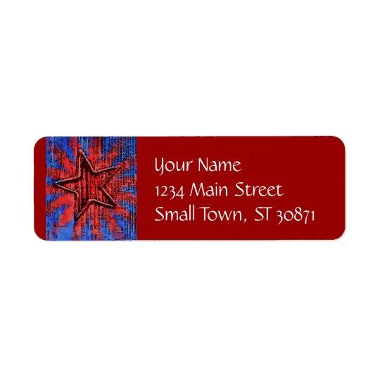 Cool Rustic Star Pop Art Print Return Address Label
