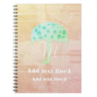 Cool Rustic Umbrella  Watercolor Style Notebook