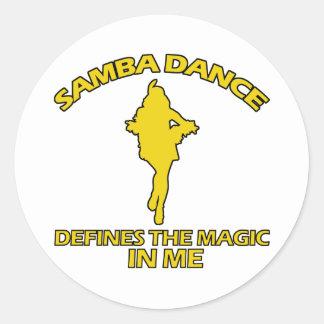 cool samba dance designs round sticker
