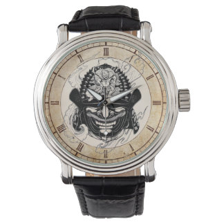 Cool  samurai demon mask helm tattoo wristwatch