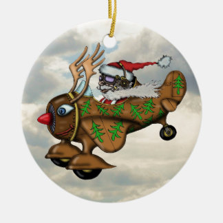 Cool Santa pilot funny Christmas tree ornament