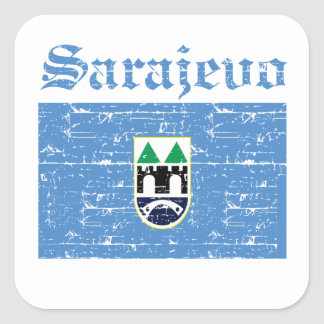 Cool sarajevo city flag designs square sticker
