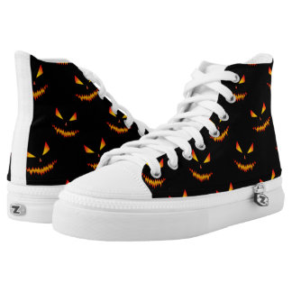 Cool scary Jack O'Lantern face Halloween pattern Printed Shoes