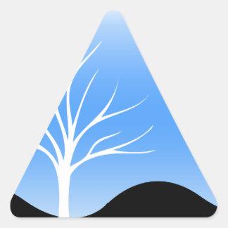 Cool Scene/Tree Silhouette Blue/Black Triangle Sticker