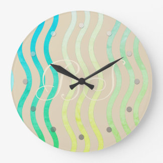 Cool School Dream Sea Waves Add Initials Clock