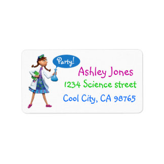 Cool Science Birthday Party for Girls Label