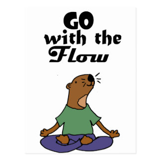 Cool Sea Otter Yoga Cartoon says Go with the Flow Postcard
