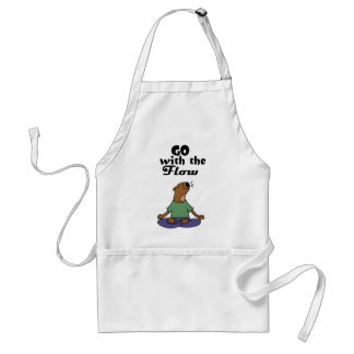 Cool Sea Otter Yoga Cartoon says Go with the Flow Standard Apron
