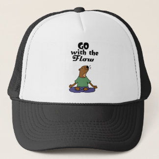 Cool Sea Otter Yoga Cartoon says Go with the Flow Trucker Hat