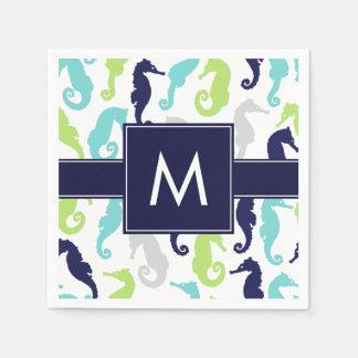 Cool Seahorses Monogrammed Disposable Serviette