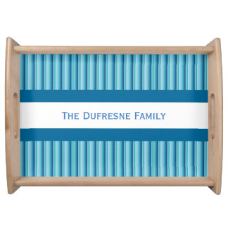 Cool Shades of Blue w/Personalization Serving Tray