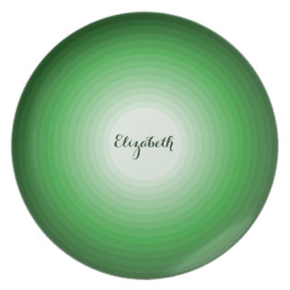 Cool Shades of Green Circles Personalized Name Fun Plate
