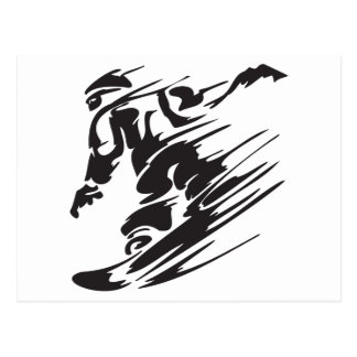 Cool Silhouette Snowboarding Mountain Postcard