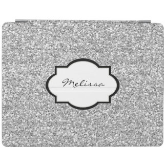 Cool Silver glitter bling sparkling monogram name iPad Cover