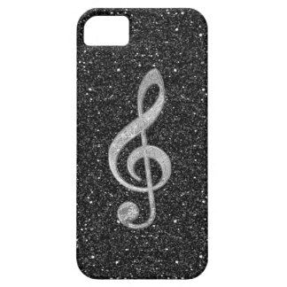 Cool silver glitter shining effects treble clef iPhone 5 case