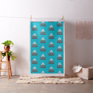 Cool Silver Grey Boat Sailing Pattern Turquoise Fabric