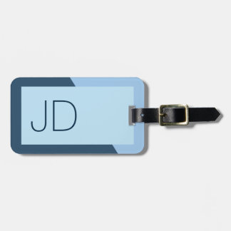 Cool Simple Blue Geometric Monogram Luggage Tag