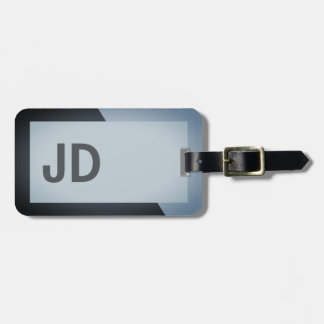 Cool Simple Dark Geometric Bold Monogram Luggage Tag