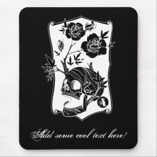 Cool Simple Elegant Classic Black White Skull Mouse Pad