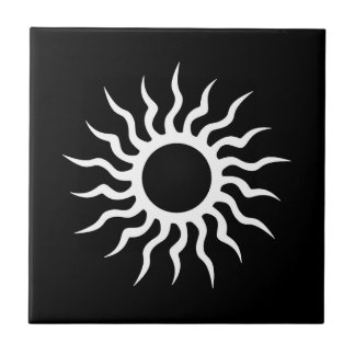 Cool Simple Elegant Classic Black White Tribal Small Square Tile