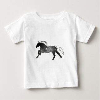 Cool Simple Horse Black and White Nebula Galaxy Baby T-Shirt