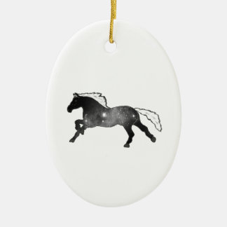 Cool Simple Horse Black and White Nebula Galaxy Ceramic Oval Decoration