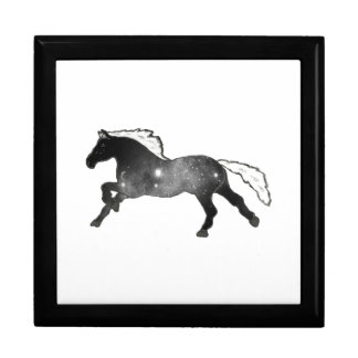 Cool Simple Horse Black and White Nebula Galaxy Large Square Gift Box