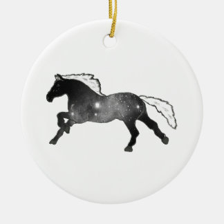 Cool Simple Horse Black and White Nebula Galaxy Round Ceramic Decoration