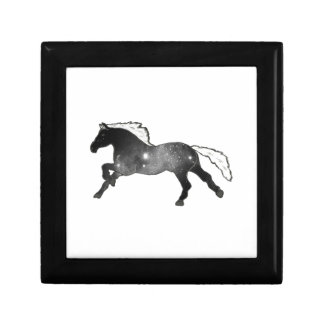 Cool Simple Horse Black and White Nebula Galaxy Small Square Gift Box