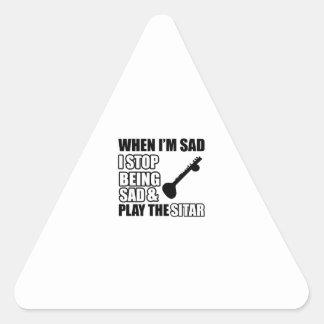 Cool Sitar Designs Triangle Sticker
