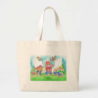 Cool skateboarding animal cartoon caharacters. large tote bag